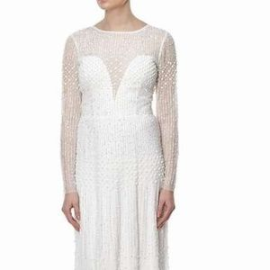 ADRIANNA PAPELL LONG SLEEVE BEADED GOWN,